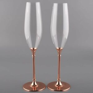 Personalised Rose Gold Metal Stem Champagne Flutes – English