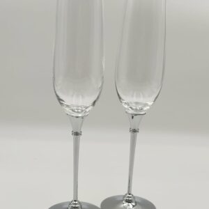 Personalised Silver Metal Stem Champagne Flutes – English