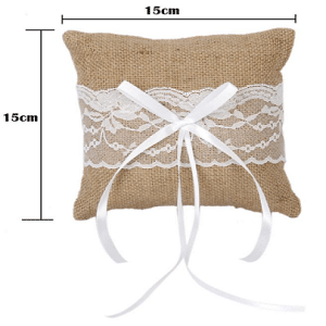 Burlap & Lace Bow Ring Pillow