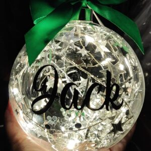 Personalised with Name – Lit Up 12cm Glass Bauble